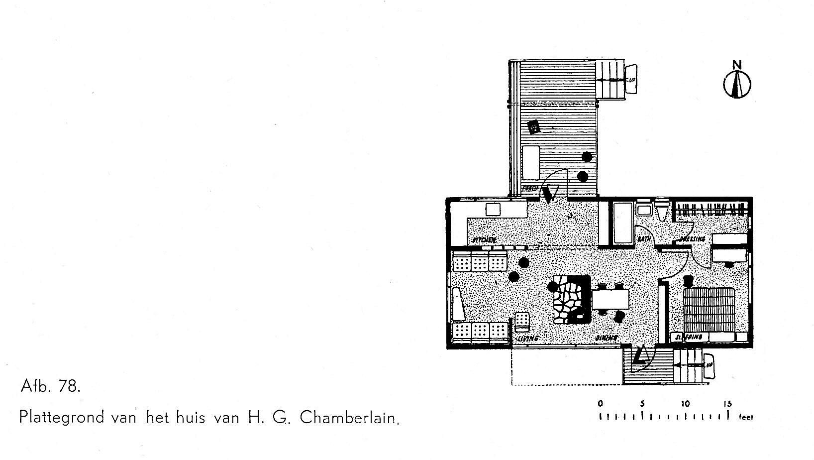 plattegrond, huis Chamberlain, Wayland (Mass.)
